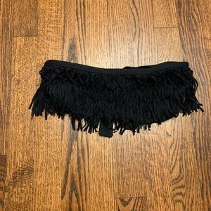 L*Space Black Fringe Strapless Bandeau Bikini Top